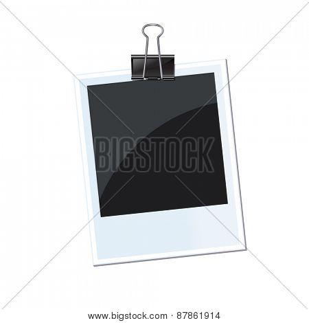Retro photo frame isolated with fastener 10 eps