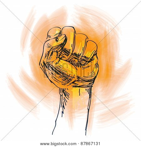 fist vector logo design template. power, opposition or blow icon.