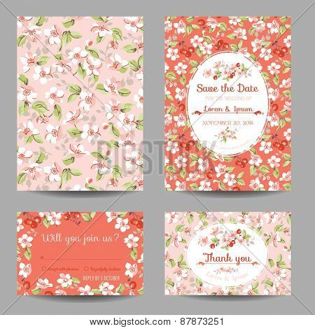 Invitation or Congratulation Card Set - for Wedding, Baby Shower - in vector poster