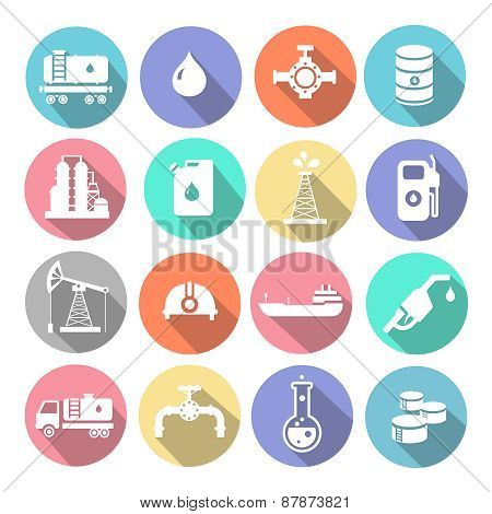 Oil industry drilling refining process petroleum transportation icons set with truck  tanker and pum