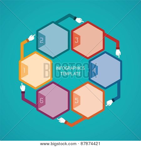 Abstract Vector 6 Steps Infographic Template In Flat Style For Layout Workflow Scheme, Numbered Opti
