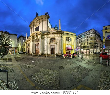 Saint George Church (chiesa San Giorgio Al Palazzo) And Torino Street In The Evening, Milan, Italy