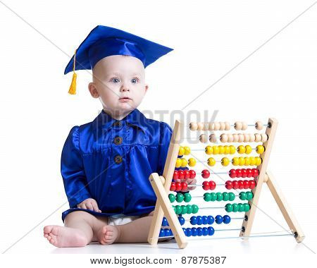 Funny academician kid toddler with counter toy poster