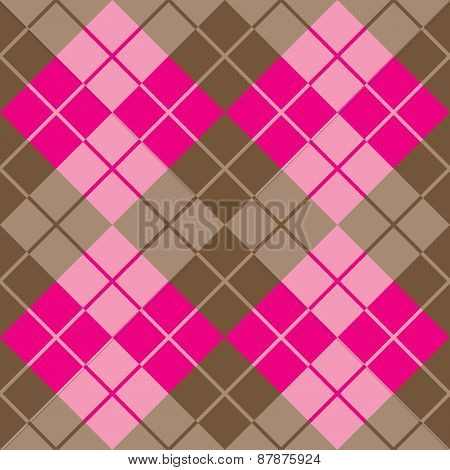 Argyle Design in Pink and Brown