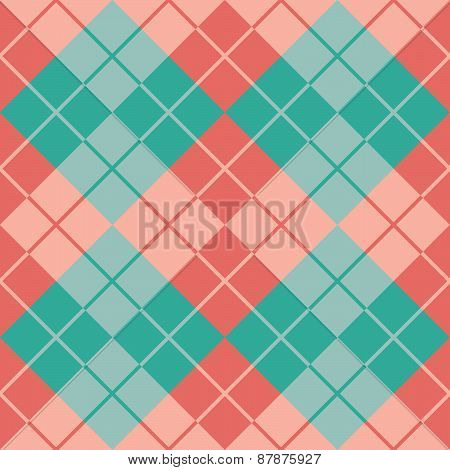 Argyle Design in Turquoise and Coral