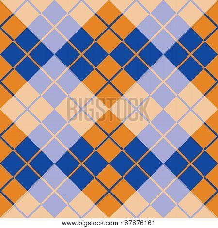Argyle in Blue and Orange