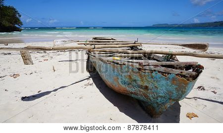 Decaying Rowing Boat On Beach At Playa Rincón