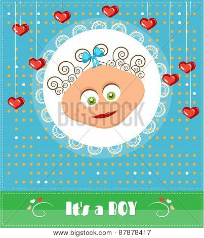 Romantic, funny, dotted, blue, baby shower, card with text Its a boy, smiling, cute boy with brown,