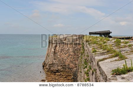Cannon protecting a fort on the beach.