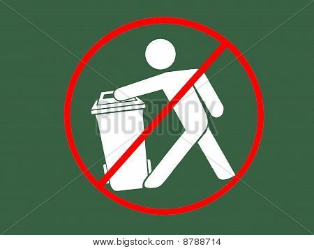 Sign of not trashfills area / recycle bin symbol Sign of not throw garbage