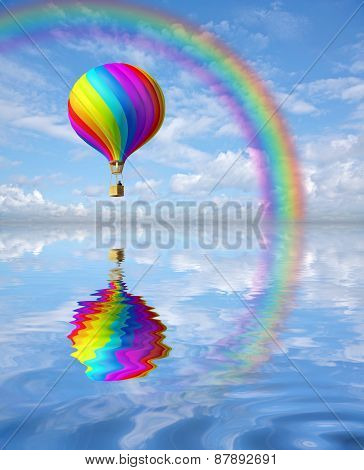 Colorful Hot Air Ballon In The Blue Sky With Rainbow