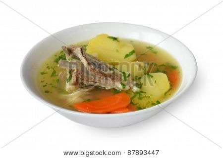 Sherpa with meat on a plate on white background