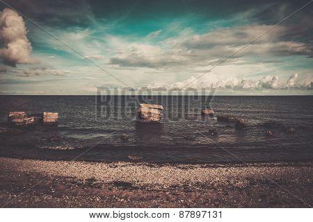 Ruins of artillery coast battery on Saaremaa island , Estonia