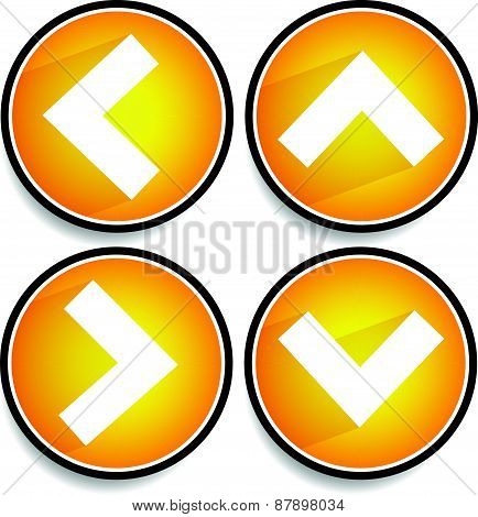Orange yellow arrows arrowheads pointing up down left and right. Up down left right buttons icons with arrows casting diagonal shadow poster