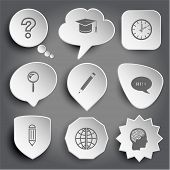 query sign, graduation cap, clock, magnifying glass, pencil, chat symbol, globe, human brain. White raster buttons on gray. poster