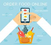 Order food online. Network and delivery, buy and retail, business concept, vector illustration poster
