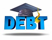 Student debt financial concept as a graduation mortar board on the word for school tuition loan repayment or lending and education financing symbol for university and college students on a white background. poster