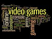 Video games concepts word cloud illustration. Word collage concept. poster
