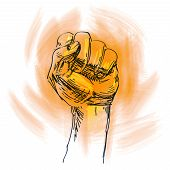 fist on a white background. sketch. vector illustration poster