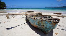 Decaying Rowing Boat On Beach At Playa Rincón