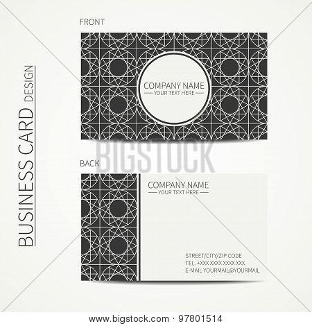 Geometric lattice monochrome business card template for your design. Arabic pattern. Islamic orienta