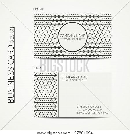 Geometric monochrome business card template with triangle for your design. Polygon pattern. Business