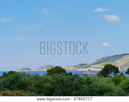 The mountains along a bay of Lastovo in Croatia