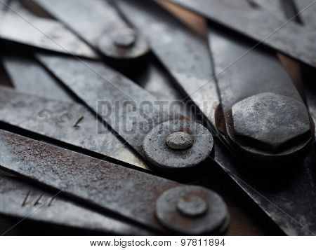 Old measuring Calipers, close up still life. Shallow depth of field.
