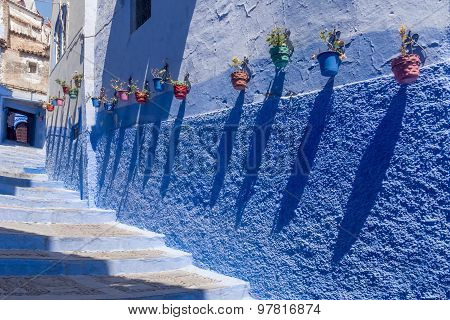 The stairs of the blue medina of Chefchaouen Morocco