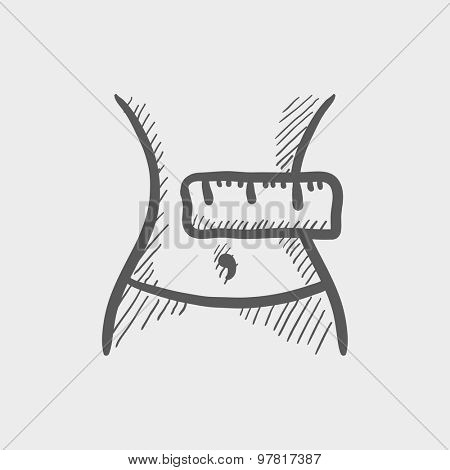 Slimming belly with measuring tape sketch icon for web and mobile. Hand drawn vector dark gray icon on light gray background.