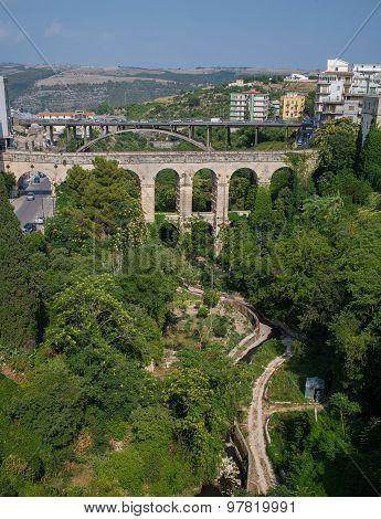 Vallata Santa Domenica and Ponte Vecchio o Ponte dei Cappuccini in Ragusa Val di Noto. Sicily Italy. poster
