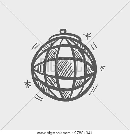 Disco ball sketch icon for web and mobile. Hand drawn vector dark grey icon on light grey background.