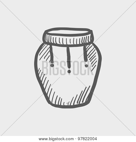 Percussion instrument sketch icon for web and mobile. Hand drawn vector dark grey icon on light grey background.
