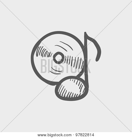 Note with phonograph record sketch icon for web and mobile. Hand drawn vector dark grey icon on light grey background.