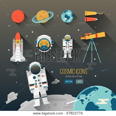 Vector flat education space illustration. Planets of solar system. Astronaut of space program.