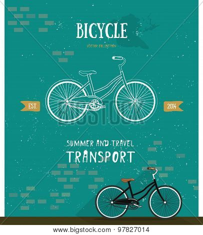 Vector bicycle logo. Flat style. Bicycle logo illustration. Summer and travel transport icon.