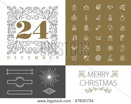 Retro Hispter Monogram Line Set Christmas Design