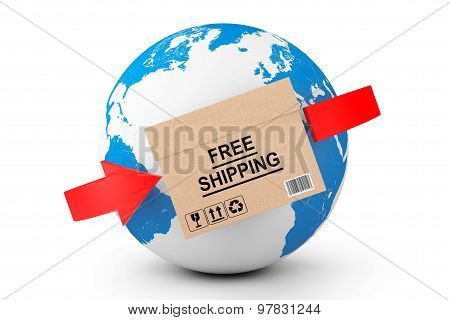 Global Delivery. Free Shipping Cardboard Box With Earth Globe