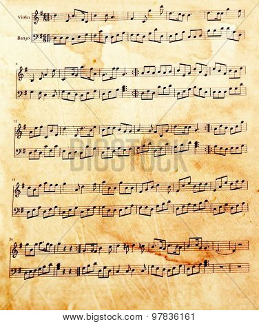Old music sheet, closeup