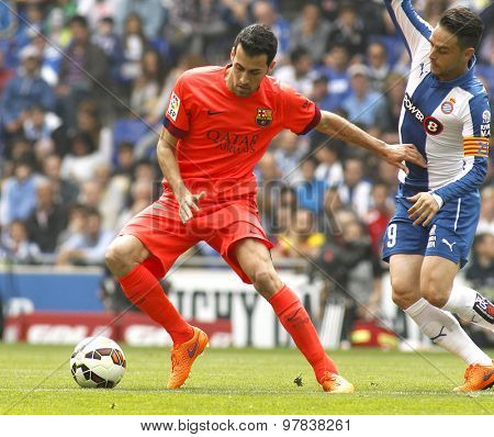 BARCELONA - APRIL, 25: Sergio Busquets of FC Barcelona during a Spanish League match against RCD Espanyol at the Power8 stadium on April 25 2015 in Barcelona Spain