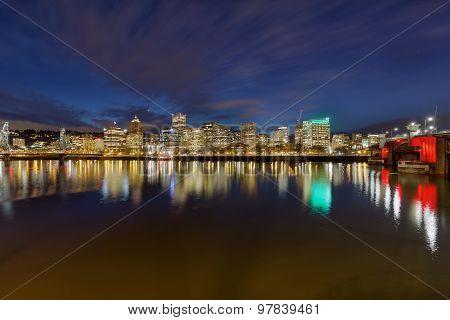 Portland Skyline And Bridges At Twilight