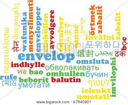 Background concept wordcloud multilanguage international many language illustration of envelop