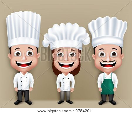 Set of Realistic 3D Chef Man and Woman Characters Happy Smiling