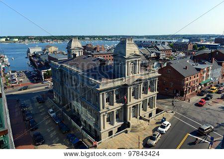 Portland Old Port and Custom House, Maine, USA