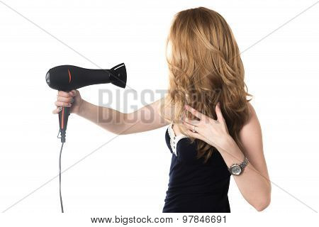Girl Using Hairdryer