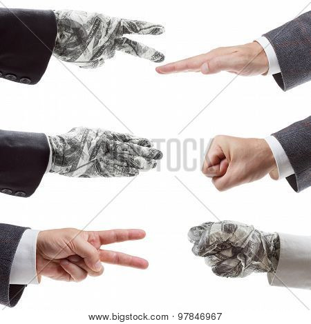 Business strategy concept - Rock Paper Scissors. symbol of victory and the right investment poster