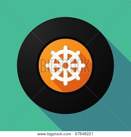 Vinyl Record With A Dharma Chakra Sign