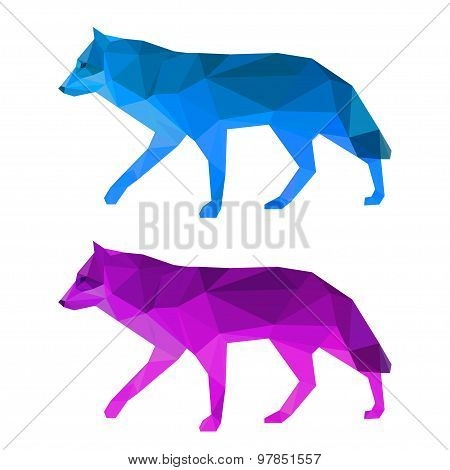 Wolf Set Isolated On White. Abstract Polygonal Geometric Triangle Illustration