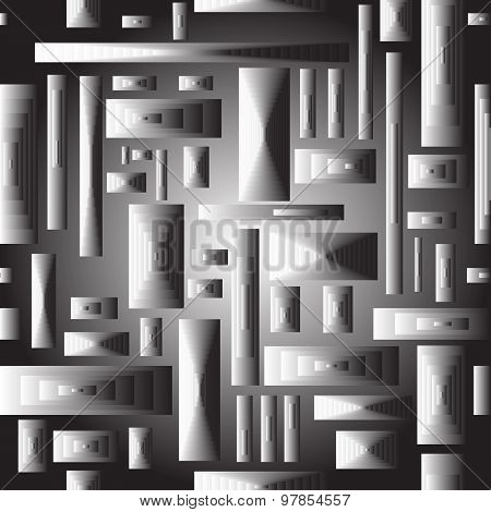 Grayscale Abstract Square Pattern.