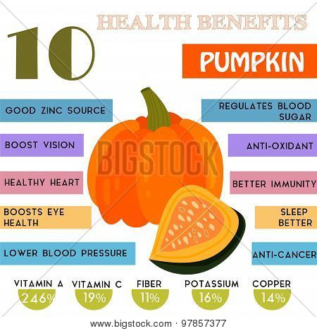 10 Health Benefits Information Of Pumpkin. Nutrients Infographic,  Vector Illustration. - Stock Vect